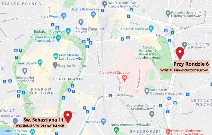 Mapa aplikacji google pokazująca drogę pieszą pomiedzy ulica Przy Rondzie 6 a ulicą św. Sebastiana 9 trwającą 26 min przy dystansie 2,1 km